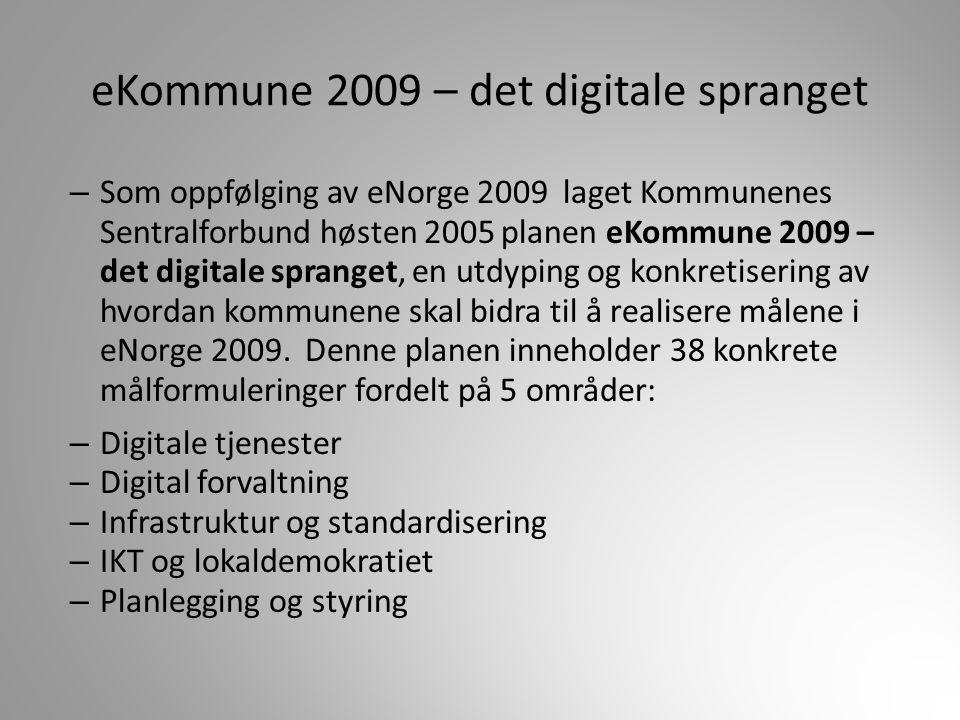 eKommune 2009 – det digitale spranget – Som oppfølging av eNorge 2009 laget Kommunenes Sentralforbund høsten 2005 planen eKommune 2009 – det digitale