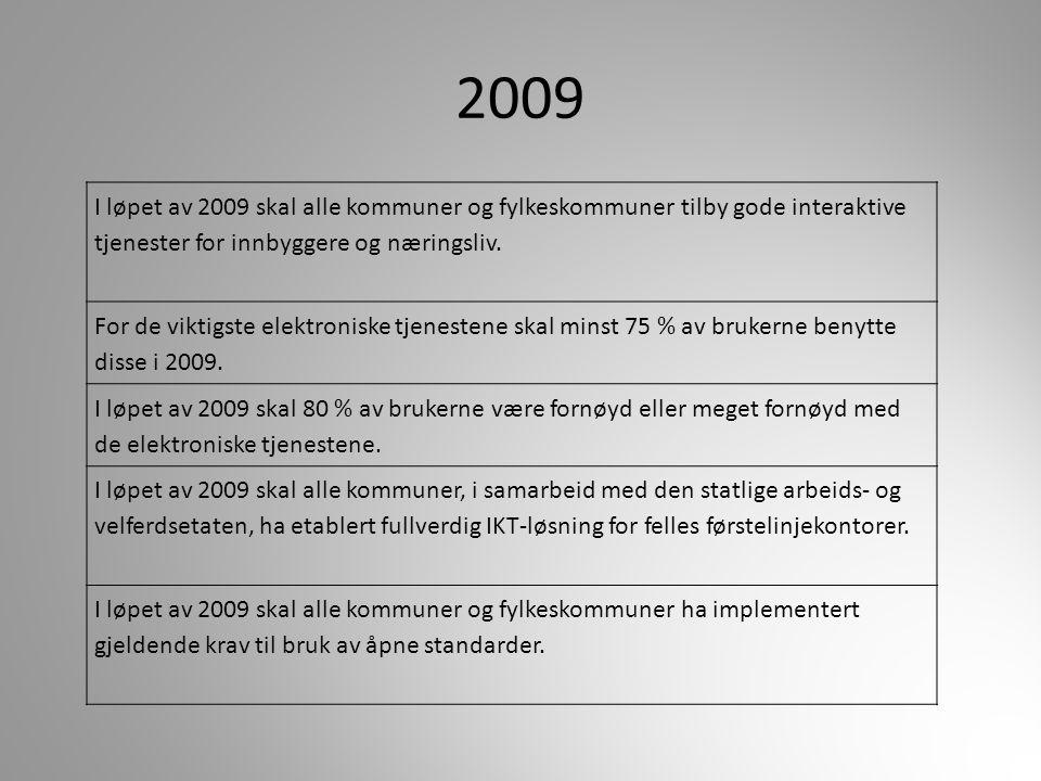 2009 I løpet av 2009 skal alle kommuner og fylkeskommuner tilby gode interaktive tjenester for innbyggere og næringsliv. For de viktigste elektroniske