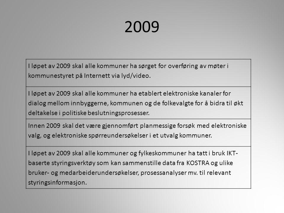 2009 I løpet av 2009 skal alle kommuner ha sørget for overføring av møter i kommunestyret på Internett via lyd/video. I løpet av 2009 skal alle kommun