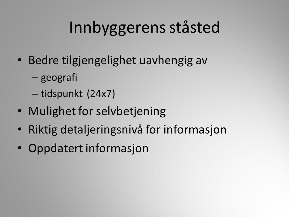 Innbyggerens ståsted Bedre tilgjengelighet uavhengig av – geografi – tidspunkt (24x7) Mulighet for selvbetjening Riktig detaljeringsnivå for informasj