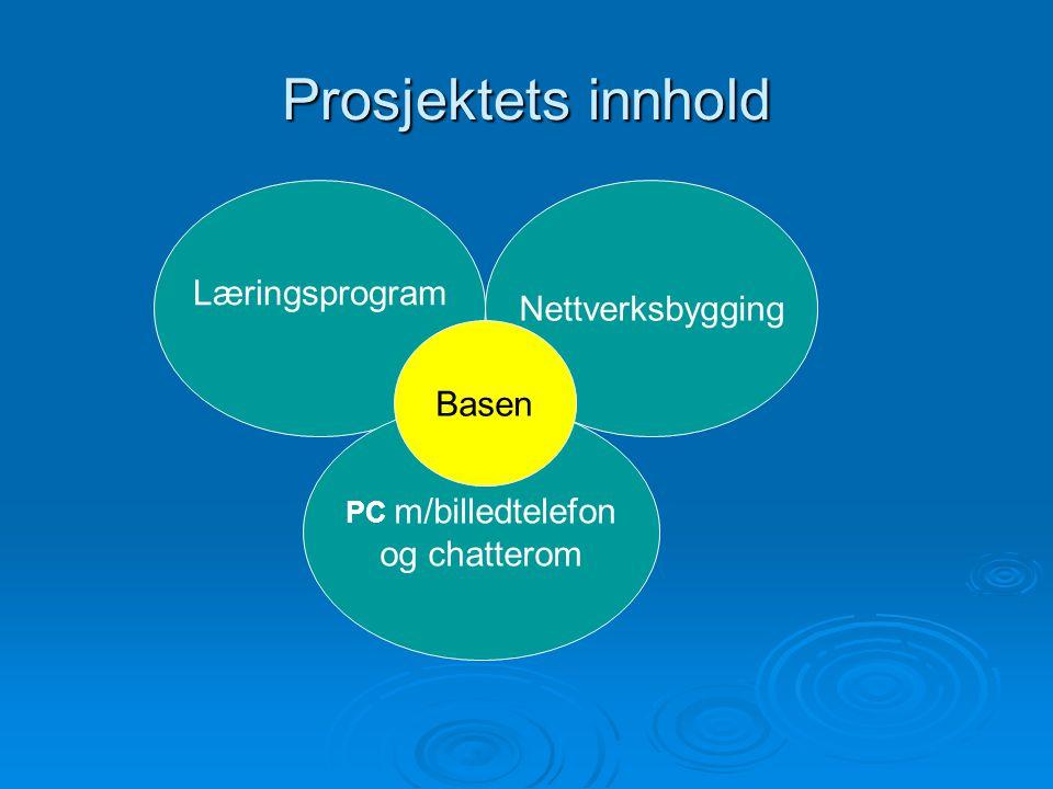 Prosjektets innhold Læringsprogram PC m/billedtelefon og chatterom Nettverksbygging Basen