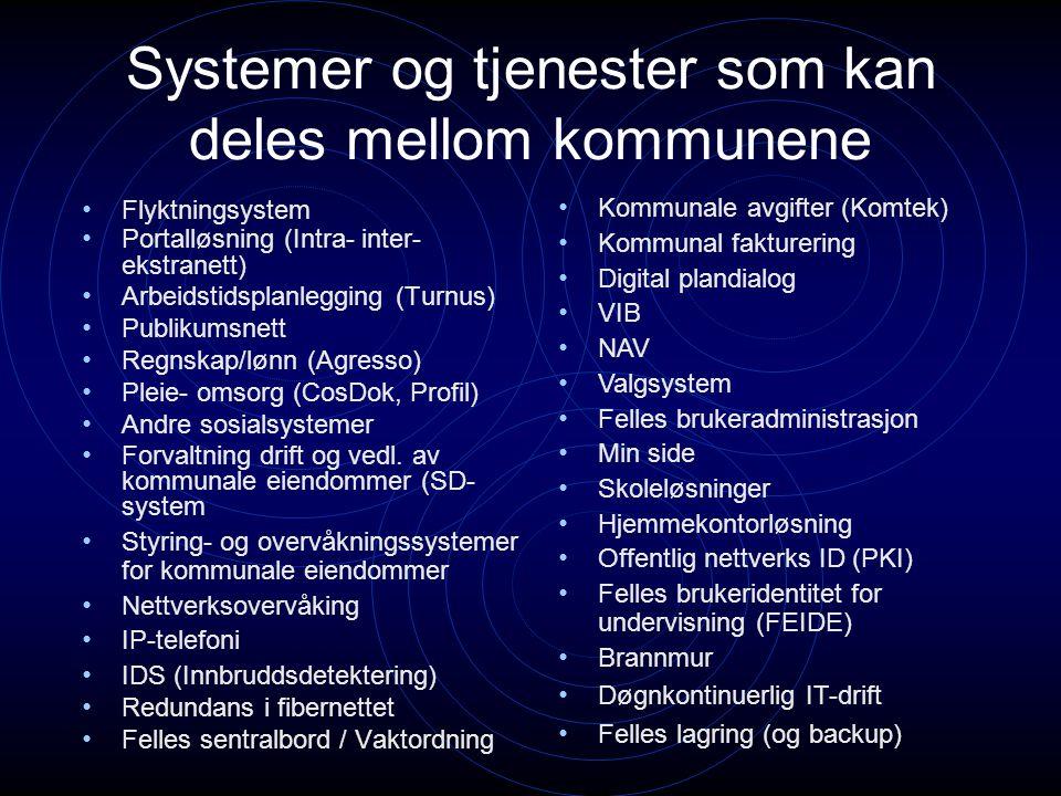 Systemer og tjenester som kan deles mellom kommunene Flyktningsystem Portalløsning (Intra- inter- ekstranett) Arbeidstidsplanlegging (Turnus) Publikum