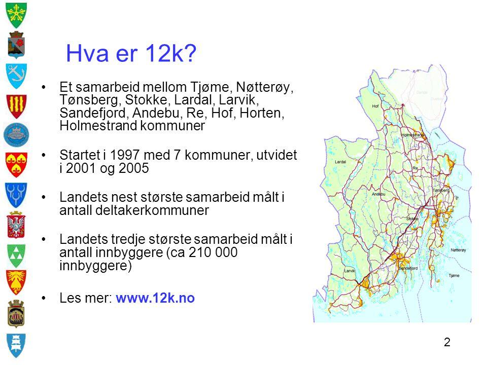 Hva er 12k? Et samarbeid mellom Tjøme, Nøtterøy, Tønsberg, Stokke, Lardal, Larvik, Sandefjord, Andebu, Re, Hof, Horten, Holmestrand kommuner Startet i
