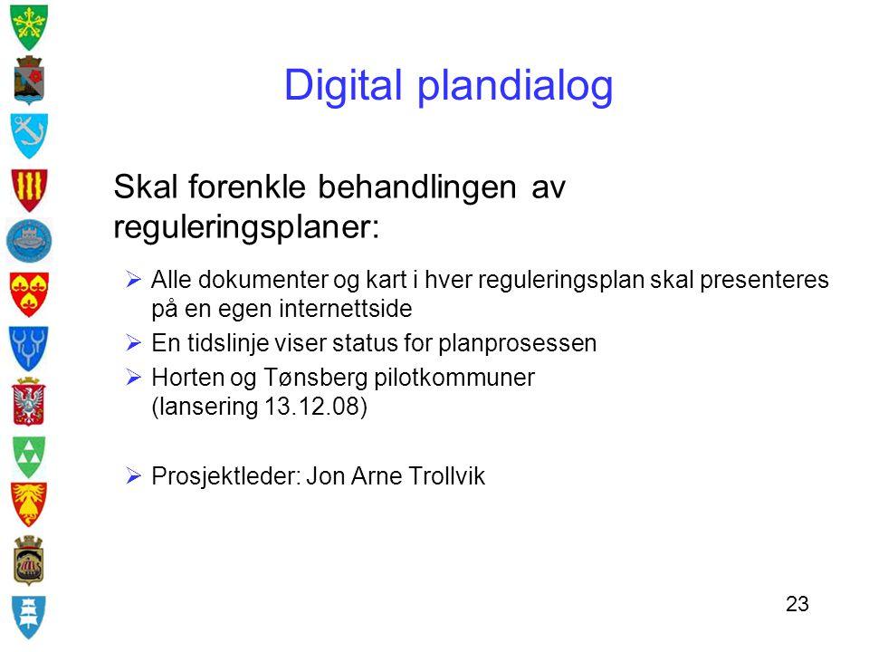 Skal forenkle behandlingen av reguleringsplaner:  Alle dokumenter og kart i hver reguleringsplan skal presenteres på en egen internettside  En tidsl