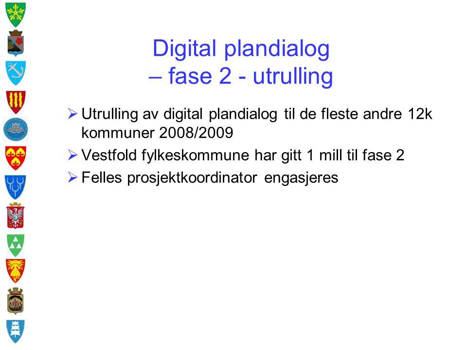 Digital plandialog – fase 2 - utrulling  Utrulling av digital plandialog til de fleste andre 12k kommuner 2008/2009  Vestfold fylkeskommune har gitt