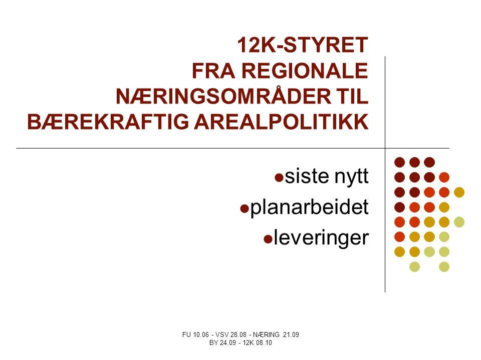 FU 10.06 - VSV 28.08 - NÆRING 21.09 BY 24.09 - 12K 08.10 12K-STYRET FRA REGIONALE NÆRINGSOMRÅDER TIL BÆREKRAFTIG AREALPOLITIKK siste nytt planarbeidet