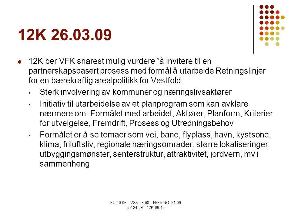 """FU 10.06 - VSV 28.08 - NÆRING 21.09 BY 24.09 - 12K 08.10 12K 26.03.09 12K ber VFK snarest mulig vurdere """"å invitere til en partnerskapsbasert prosess"""