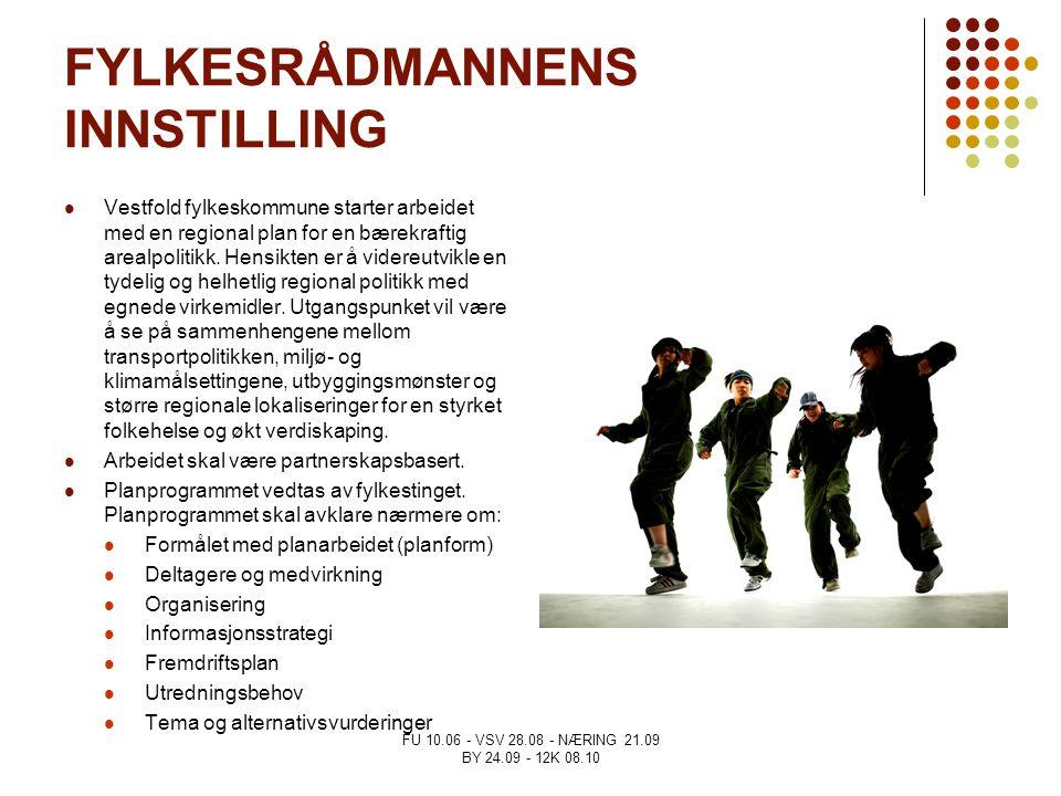 FU 10.06 - VSV 28.08 - NÆRING 21.09 BY 24.09 - 12K 08.10 FYLKESRÅDMANNENS INNSTILLING Vestfold fylkeskommune starter arbeidet med en regional plan for
