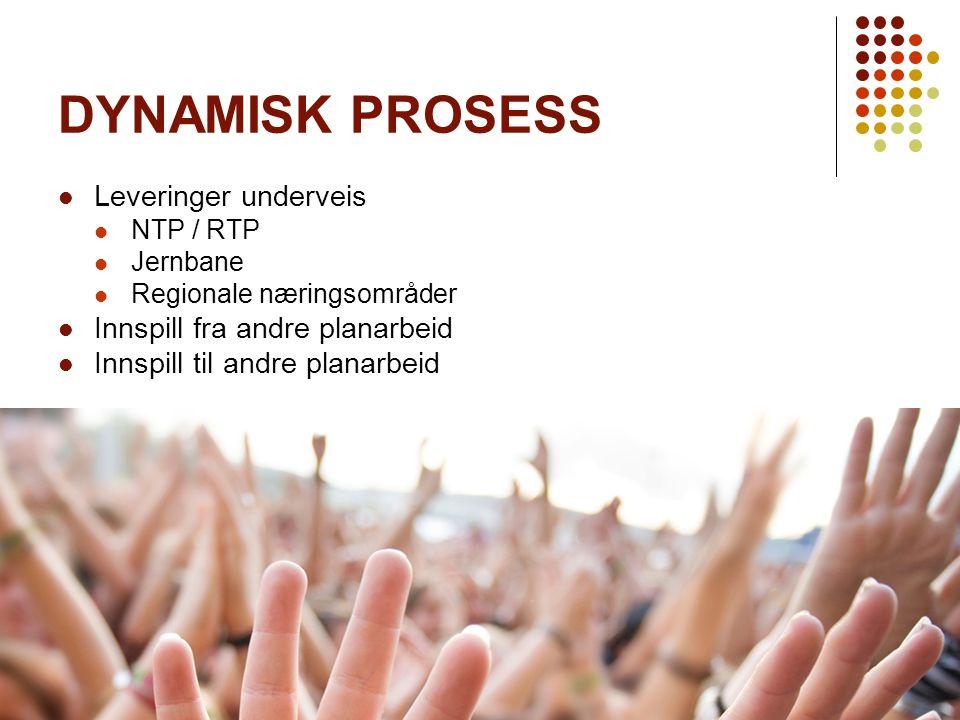 FU 10.06 - VSV 28.08 - NÆRING 21.09 BY 24.09 - 12K 08.10 DYNAMISK PROSESS Leveringer underveis NTP / RTP Jernbane Regionale næringsområder Innspill fr