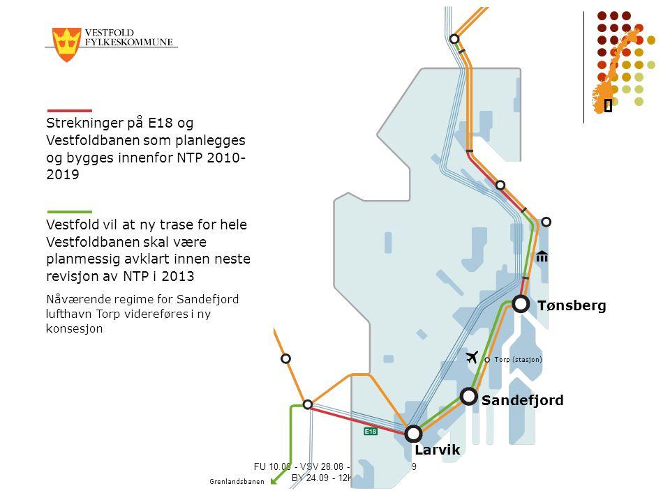 FU 10.06 - VSV 28.08 - NÆRING 21.09 BY 24.09 - 12K 08.10 Strekninger på E18 og Vestfoldbanen som planlegges og bygges innenfor NTP 2010- 2019 Vestfold