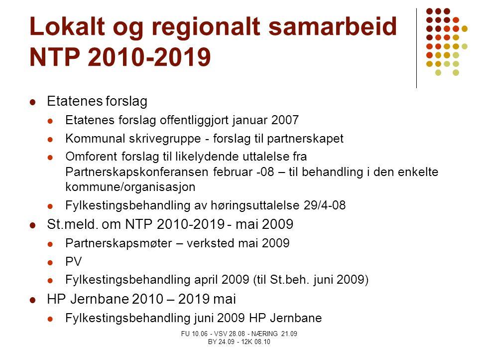 FU 10.06 - VSV 28.08 - NÆRING 21.09 BY 24.09 - 12K 08.10 Lokalt og regionalt samarbeid NTP 2010-2019 Etatenes forslag Etatenes forslag offentliggjort