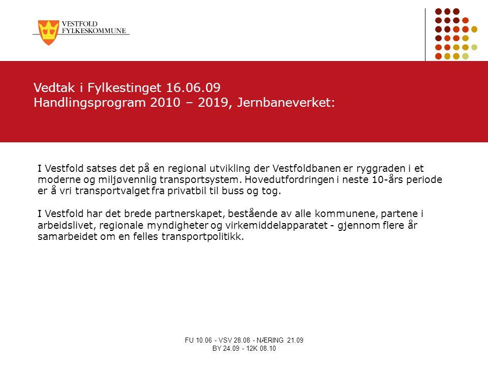 FU 10.06 - VSV 28.08 - NÆRING 21.09 BY 24.09 - 12K 08.10 I Vestfold satses det på en regional utvikling der Vestfoldbanen er ryggraden i et moderne og
