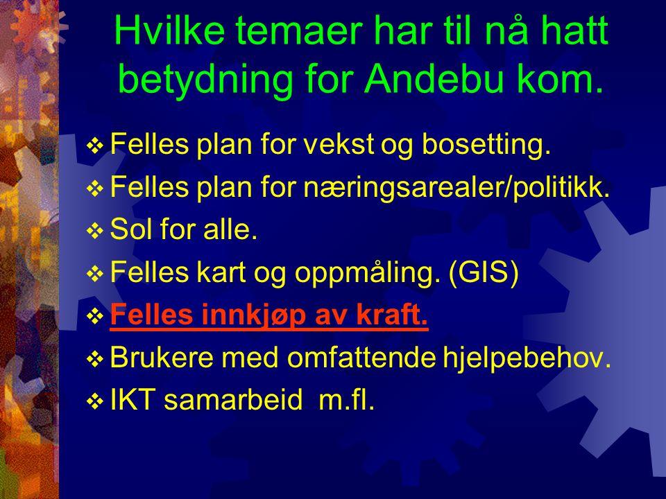 Hvilke temaer har til nå hatt betydning for Andebu kom.  Felles plan for vekst og bosetting.  Felles plan for næringsarealer/politikk.  Sol for all