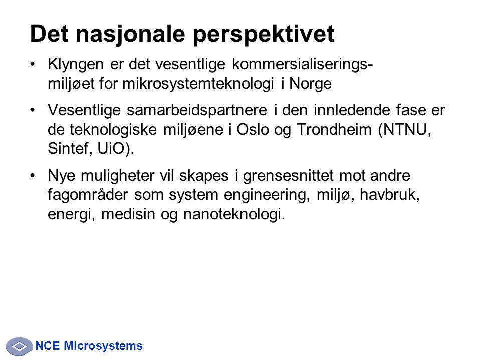 NCE Microsystems Det nasjonale perspektivet Klyngen er det vesentlige kommersialiserings- miljøet for mikrosystemteknologi i Norge Vesentlige samarbeidspartnere i den innledende fase er de teknologiske miljøene i Oslo og Trondheim (NTNU, Sintef, UiO).