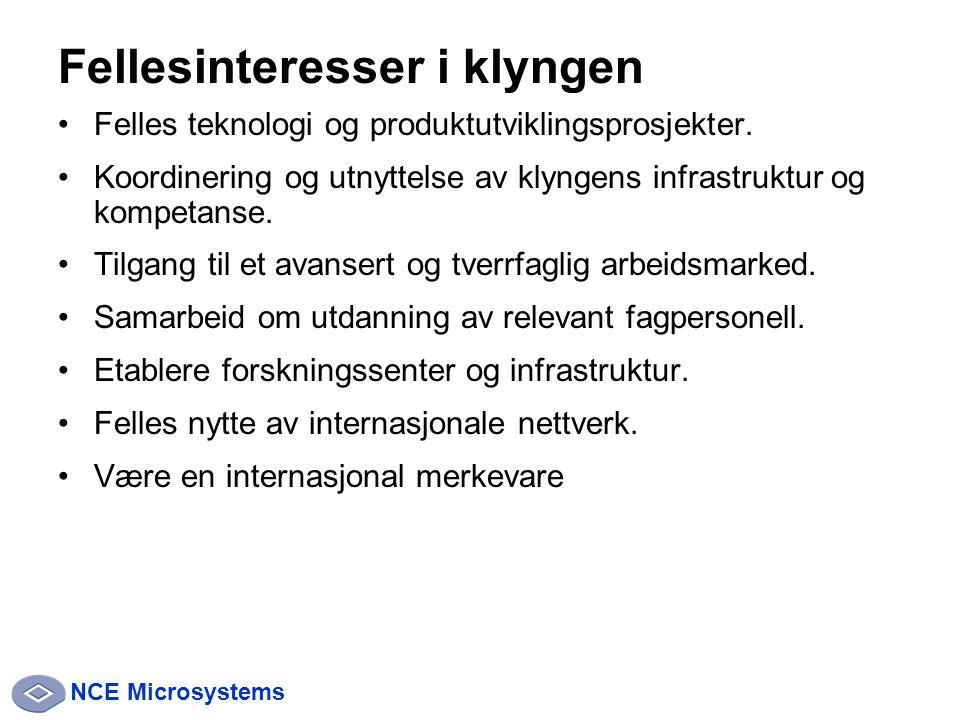 NCE Microsystems Fellesinteresser i klyngen Felles teknologi og produktutviklingsprosjekter.