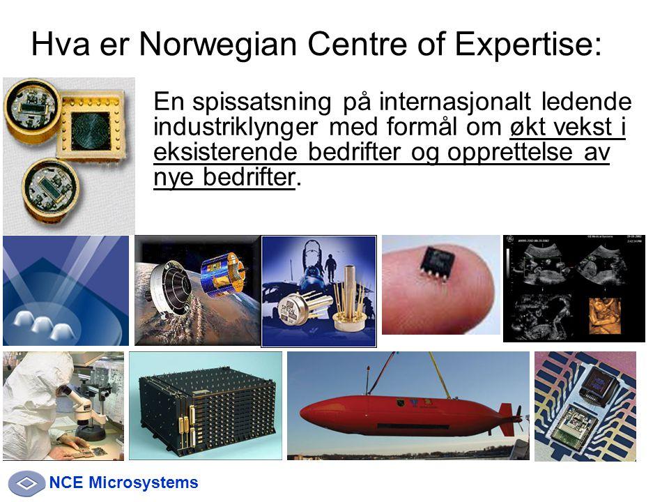 NCE Microsystems En spissatsning på internasjonalt ledende industriklynger med formål om økt vekst i eksisterende bedrifter og opprettelse av nye bedrifter.
