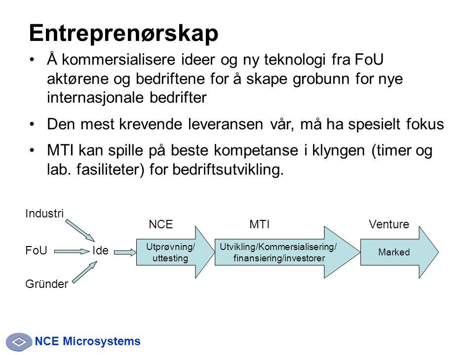 NCE Microsystems Entreprenørskap Å kommersialisere ideer og ny teknologi fra FoU aktørene og bedriftene for å skape grobunn for nye internasjonale bedrifter Den mest krevende leveransen vår, må ha spesielt fokus MTI kan spille på beste kompetanse i klyngen (timer og lab.