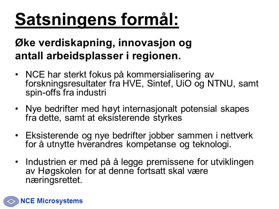 NCE Microsystems Øke verdiskapning, innovasjon og antall arbeidsplasser i regionen.