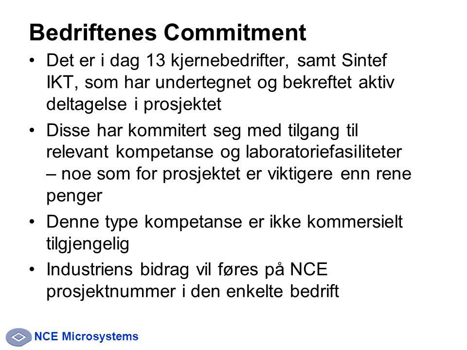 NCE Microsystems Det er i dag 13 kjernebedrifter, samt Sintef IKT, som har undertegnet og bekreftet aktiv deltagelse i prosjektet Disse har kommitert seg med tilgang til relevant kompetanse og laboratoriefasiliteter – noe som for prosjektet er viktigere enn rene penger Denne type kompetanse er ikke kommersielt tilgjengelig Industriens bidrag vil føres på NCE prosjektnummer i den enkelte bedrift Bedriftenes Commitment