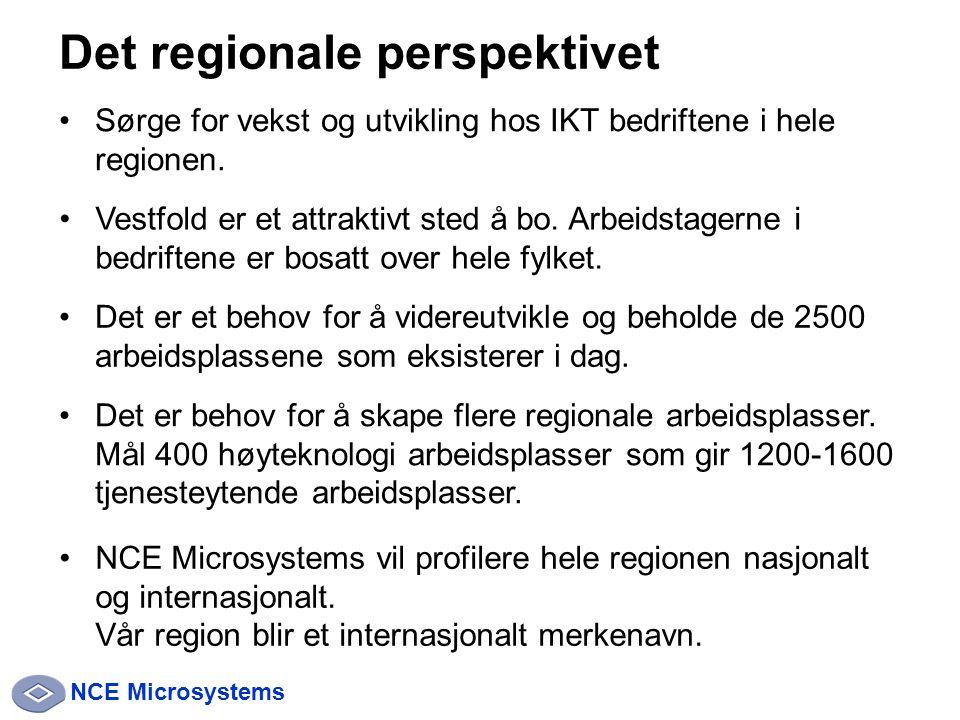 NCE Microsystems Det regionale perspektivet Sørge for vekst og utvikling hos IKT bedriftene i hele regionen.