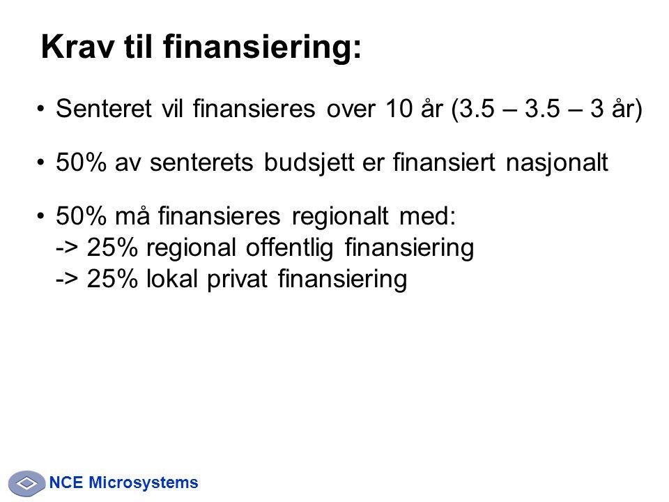 NCE Microsystems Senteret vil finansieres over 10 år (3.5 – 3.5 – 3 år) 50% av senterets budsjett er finansiert nasjonalt 50% må finansieres regionalt med: -> 25% regional offentlig finansiering -> 25% lokal privat finansiering Krav til finansiering: