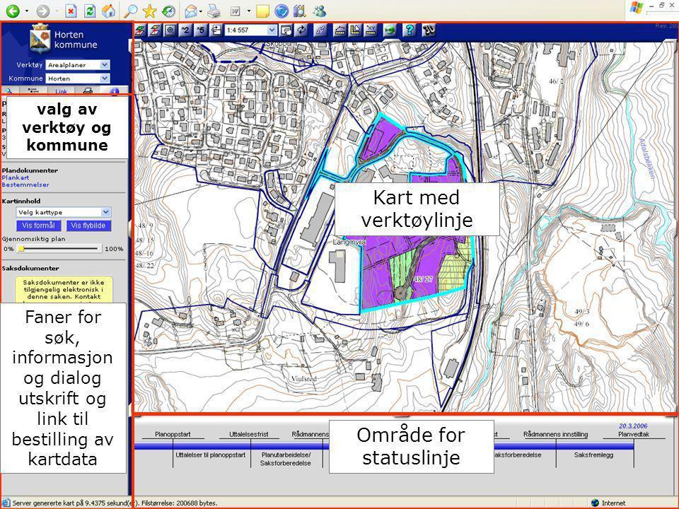 01.02.2008 Område for statuslinje Kart med verktøylinje Faner for søk, informasjon og dialog utskrift og link til bestilling av kartdata valg av verkt
