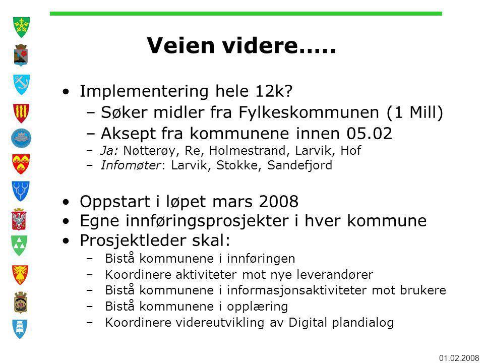 Veien videre….. Implementering hele 12k? –Søker midler fra Fylkeskommunen (1 Mill) –Aksept fra kommunene innen 05.02 –Ja: Nøtterøy, Re, Holmestrand, L