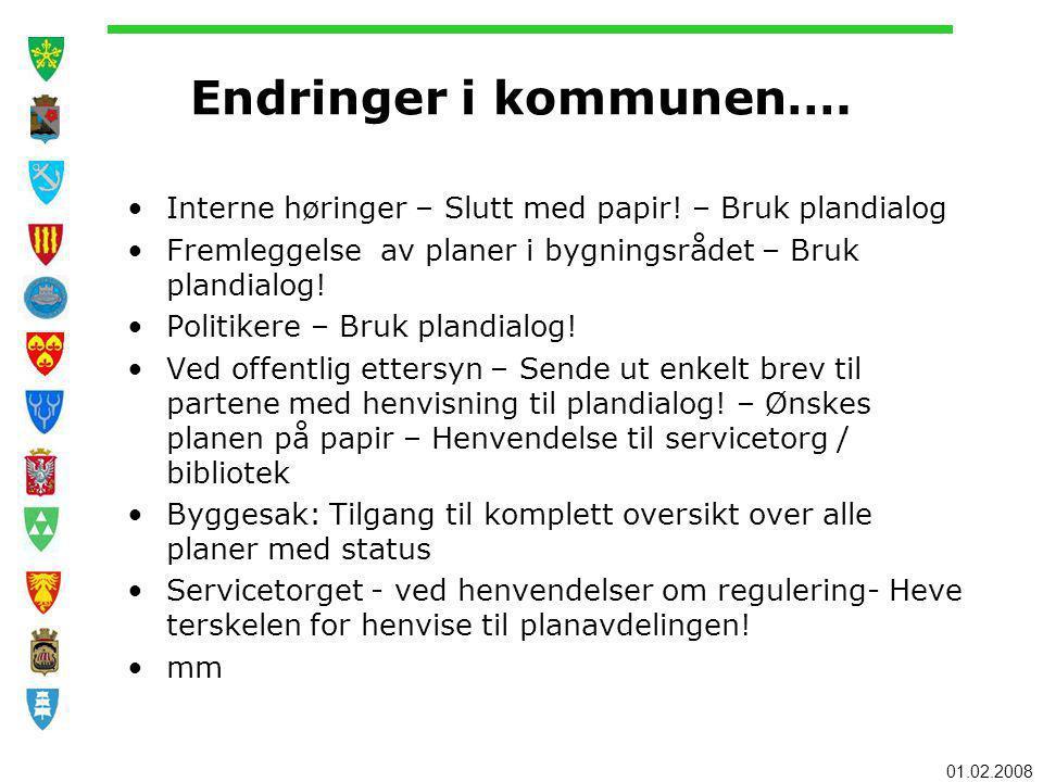 01.02.2008 Endringer i kommunen….Interne høringer – Slutt med papir.