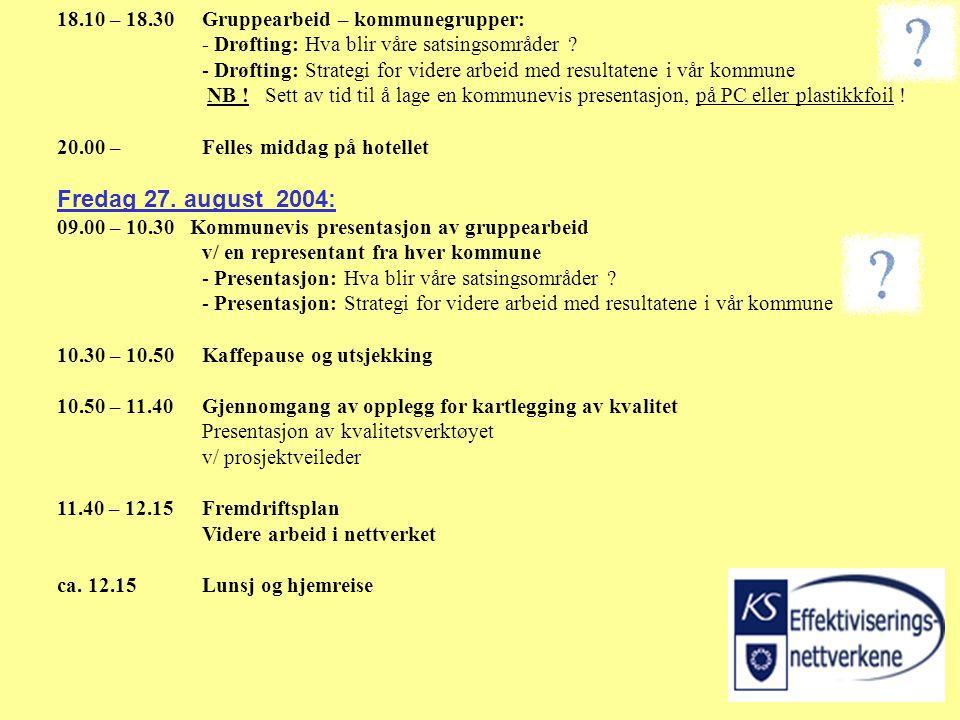 18.10 – 18.30Gruppearbeid – kommunegrupper: - Drøfting: Hva blir våre satsingsområder .