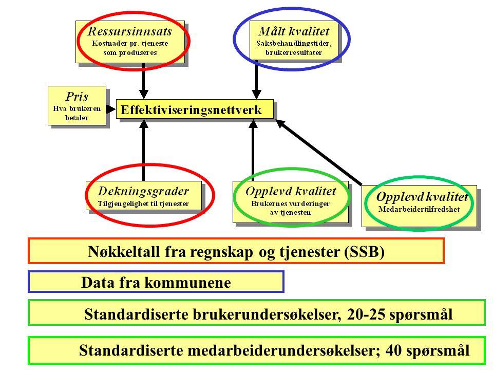 Nøkkeltall fra regnskap og tjenester (SSB) Data fra kommunene Standardiserte brukerundersøkelser, 20-25 spørsmål Opplevd kvalitet Medarbeidertilfredshet Standardiserte medarbeiderundersøkelser; 40 spørsmål