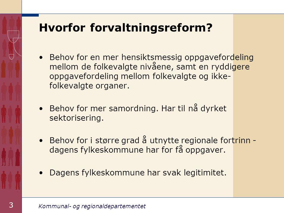 Kommunal- og regionaldepartementet 3 Hvorfor forvaltningsreform.