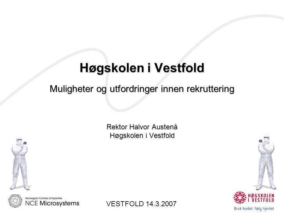 Høgskolen i Vestfold Muligheter og utfordringer innen rekruttering Rektor Halvor Austenå Høgskolen i Vestfold VESTFOLD 14.3.2007
