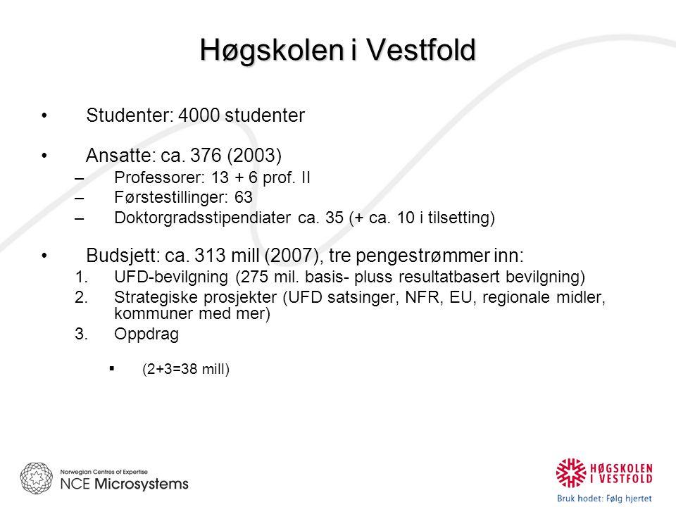 Høgskolen i Vestfold Studenter: 4000 studenter Ansatte: ca.