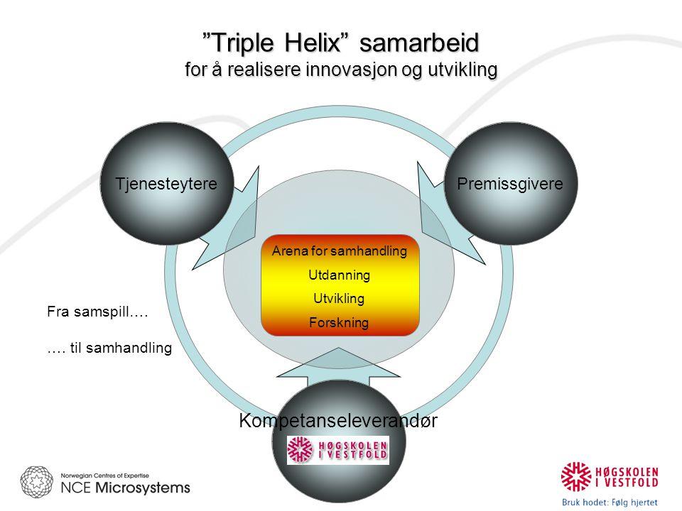Triple Helix samarbeid for å realisere innovasjon og utvikling TjenesteyterePremissgivere Kompetanseleverandør Arena for samhandling Utdanning Utvikling Forskning Fra samspill….