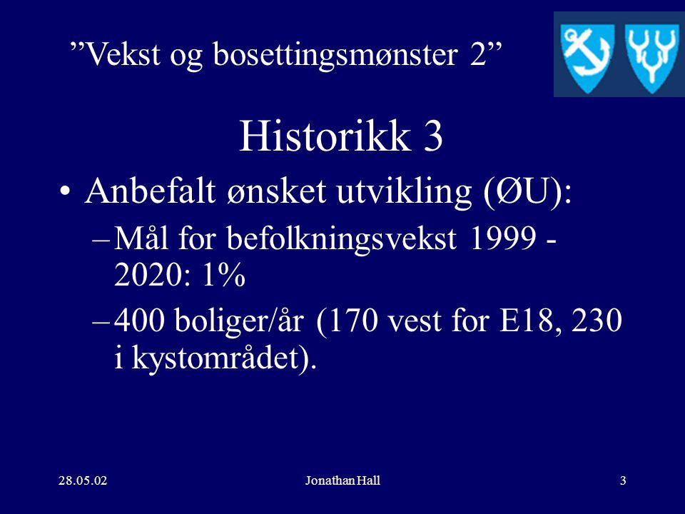 28.05.02Jonathan Hall2 Historikk 2 Prosjekt Regionalt samarbeid om vekst.. –Anbefalt hovedmål: Tønsbergområdet skal være et område der innbyggerne opplever at det er godt å bo, med gode rekreasjonsmuligheter og oppvekstkår.