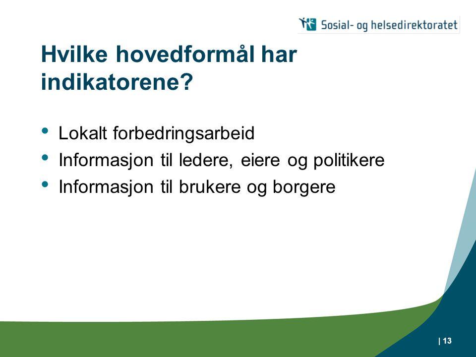 | 13 Hvilke hovedformål har indikatorene? Lokalt forbedringsarbeid Informasjon til ledere, eiere og politikere Informasjon til brukere og borgere