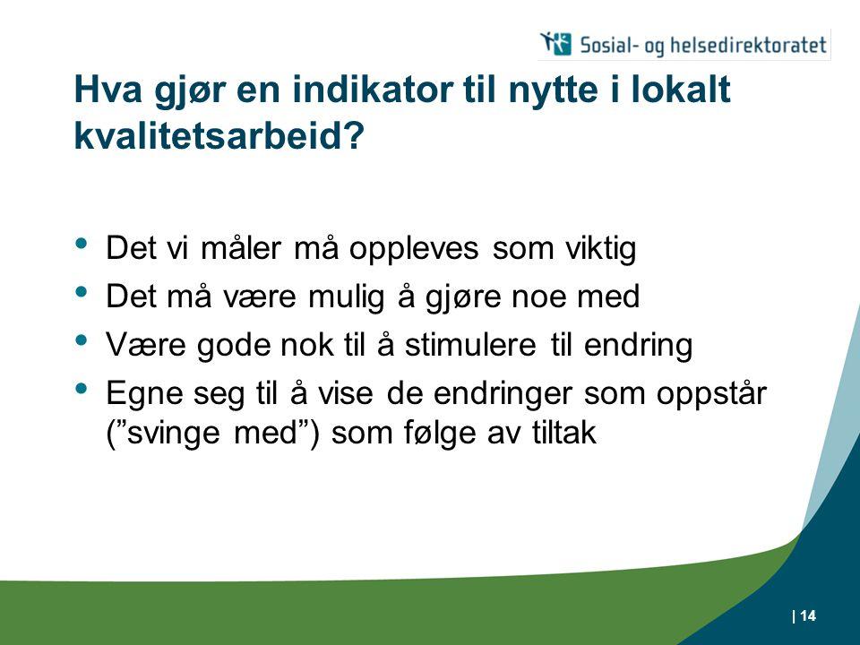| 14 Hva gjør en indikator til nytte i lokalt kvalitetsarbeid? Det vi måler må oppleves som viktig Det må være mulig å gjøre noe med Være gode nok til