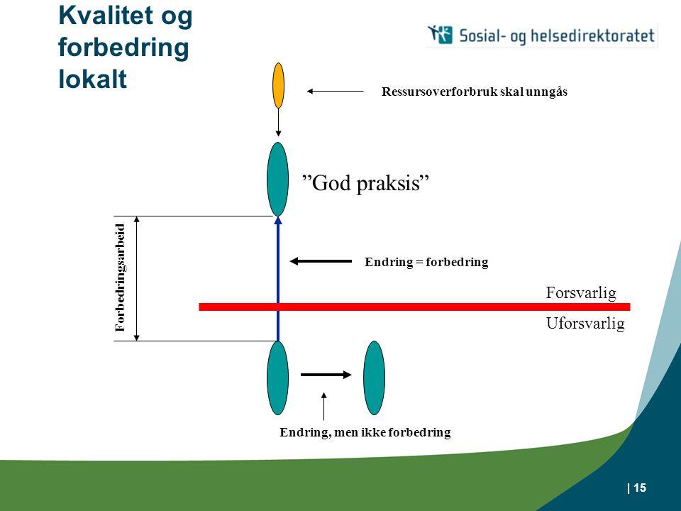 | 15 Kvalitet og forbedring lokalt God praksis Forsvarlig Uforsvarlig Endring = forbedring Endring, men ikke forbedring Forbedringsarbeid Ressursoverforbruk skal unngås