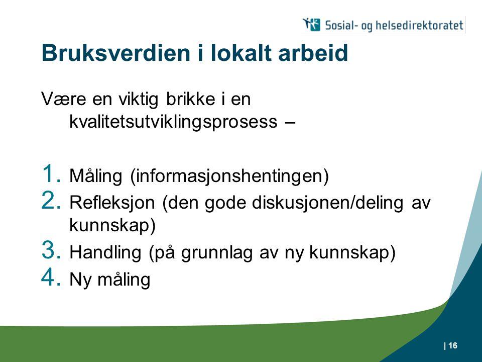 | 16 Bruksverdien i lokalt arbeid Være en viktig brikke i en kvalitetsutviklingsprosess – 1. Måling (informasjonshentingen) 2. Refleksjon (den gode di