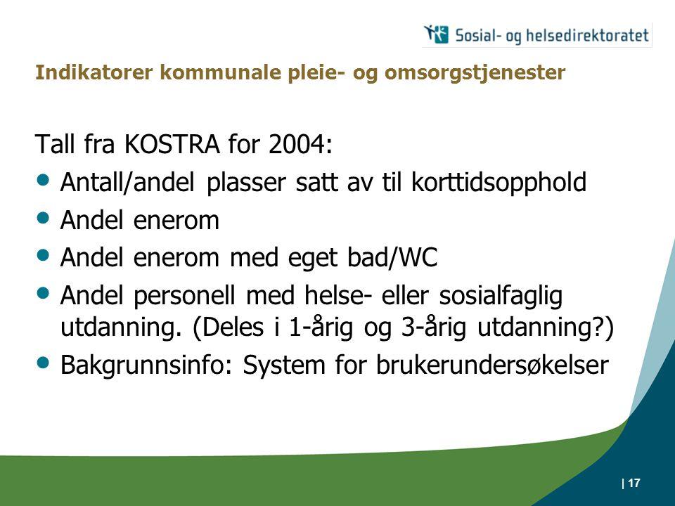 | 17 Indikatorer kommunale pleie- og omsorgstjenester Tall fra KOSTRA for 2004: Antall/andel plasser satt av til korttidsopphold Andel enerom Andel enerom med eget bad/WC Andel personell med helse- eller sosialfaglig utdanning.