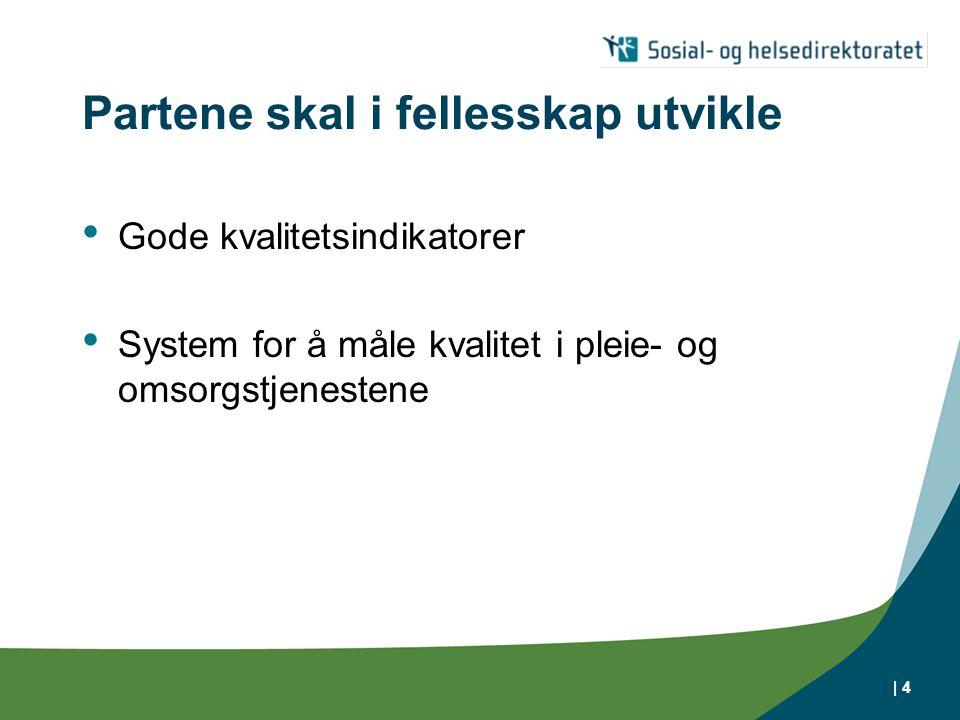 | 4 Partene skal i fellesskap utvikle Gode kvalitetsindikatorer System for å måle kvalitet i pleie- og omsorgstjenestene