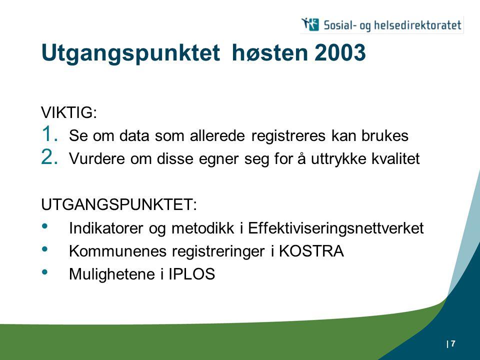 | 7 Utgangspunktet høsten 2003 VIKTIG: 1. Se om data som allerede registreres kan brukes 2. Vurdere om disse egner seg for å uttrykke kvalitet UTGANGS