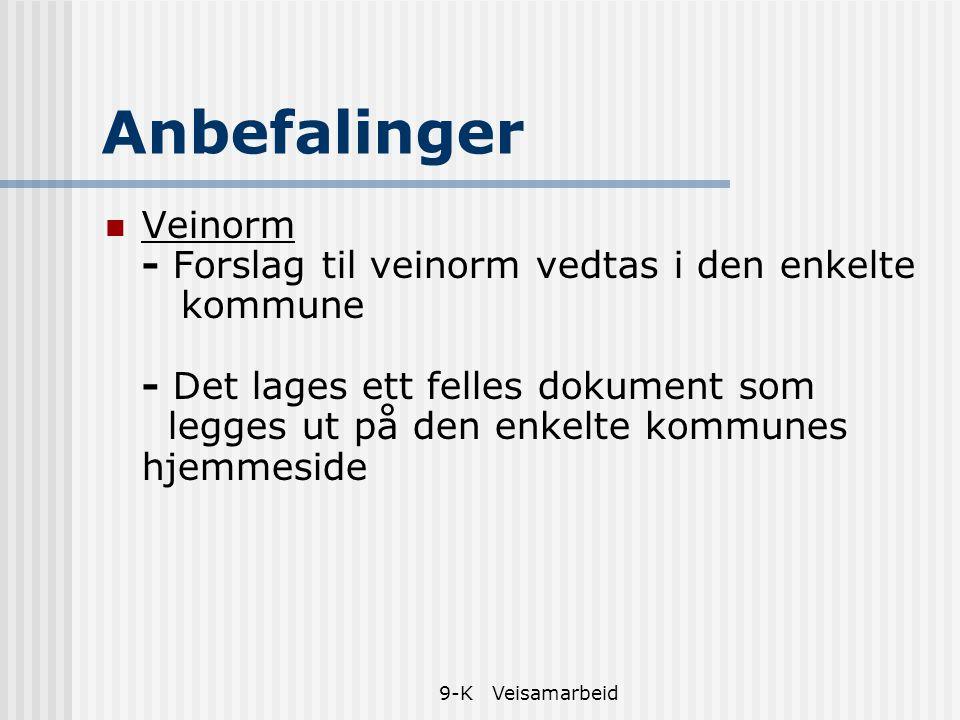9-K Veisamarbeid Anbefalinger Veinorm - Forslag til veinorm vedtas i den enkelte kommune - Det lages ett felles dokument som legges ut på den enkelte