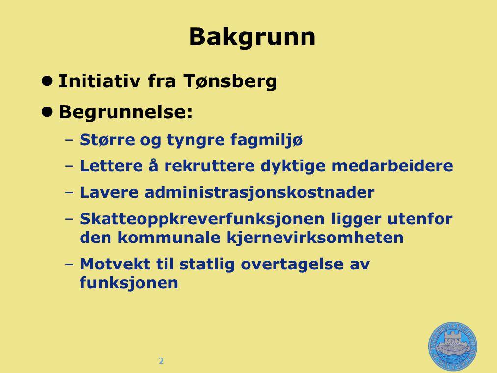 2 Bakgrunn Initiativ fra Tønsberg Begrunnelse: –Større og tyngre fagmiljø –Lettere å rekruttere dyktige medarbeidere –Lavere administrasjonskostnader –Skatteoppkreverfunksjonen ligger utenfor den kommunale kjernevirksomheten –Motvekt til statlig overtagelse av funksjonen §
