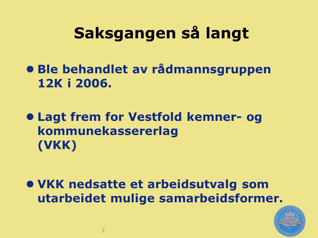 3 Saksgangen så langt Ble behandlet av rådmannsgruppen 12K i 2006. Lagt frem for Vestfold kemner- og kommunekassererlag (VKK) VKK nedsatte et arbeidsu