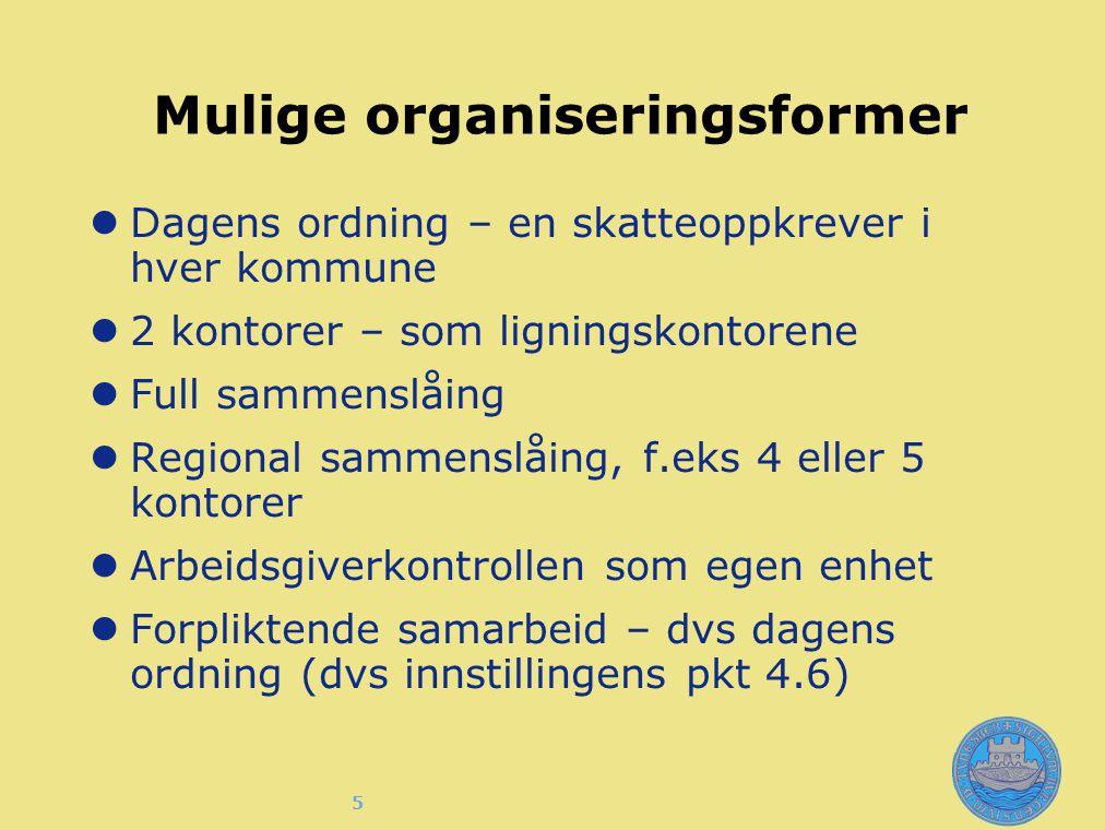 5 Mulige organiseringsformer Dagens ordning – en skatteoppkrever i hver kommune 2 kontorer – som ligningskontorene Full sammenslåing Regional sammensl