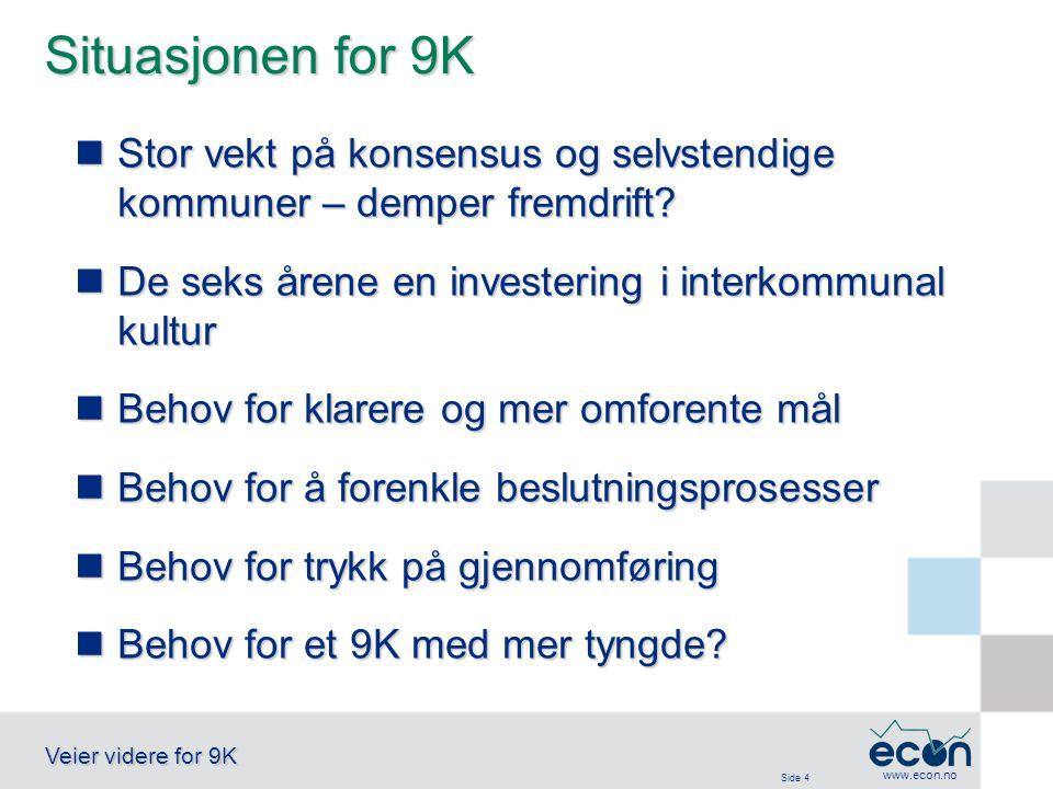 Side 4 Veier videre for 9K www.econ.no Situasjonen for 9K Stor vekt på konsensus og selvstendige kommuner – demper fremdrift.