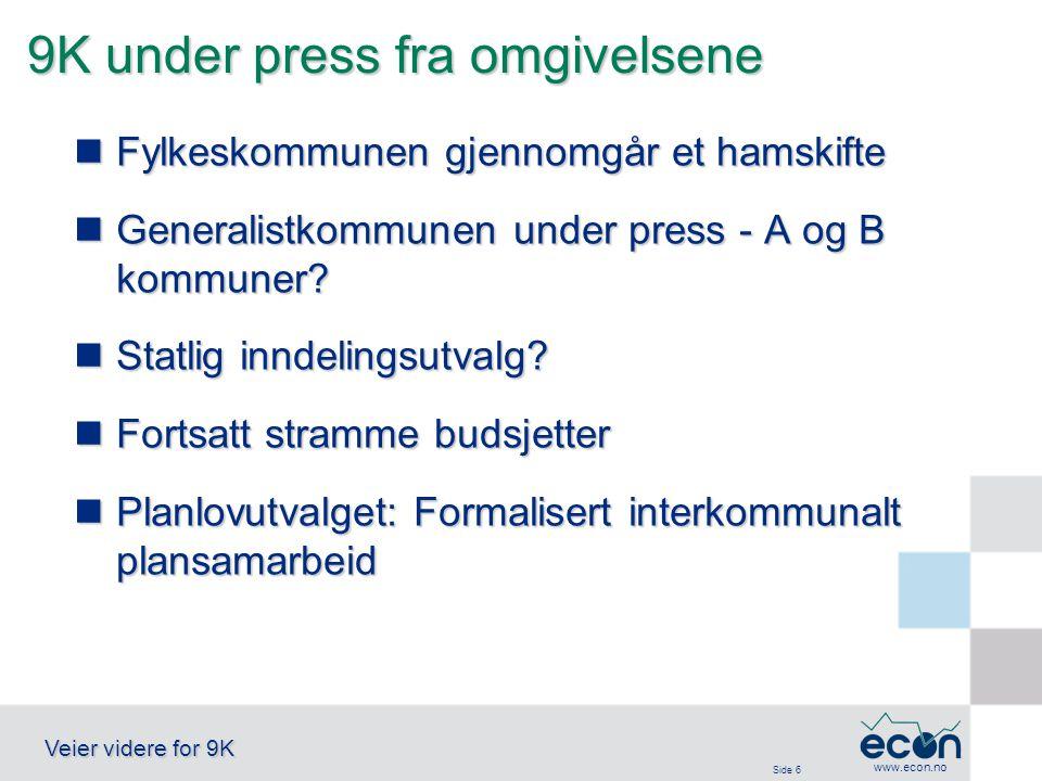 Side 6 Veier videre for 9K www.econ.no 9K under press fra omgivelsene Fylkeskommunen gjennomgår et hamskifte Fylkeskommunen gjennomgår et hamskifte Generalistkommunen under press - A og B kommuner.