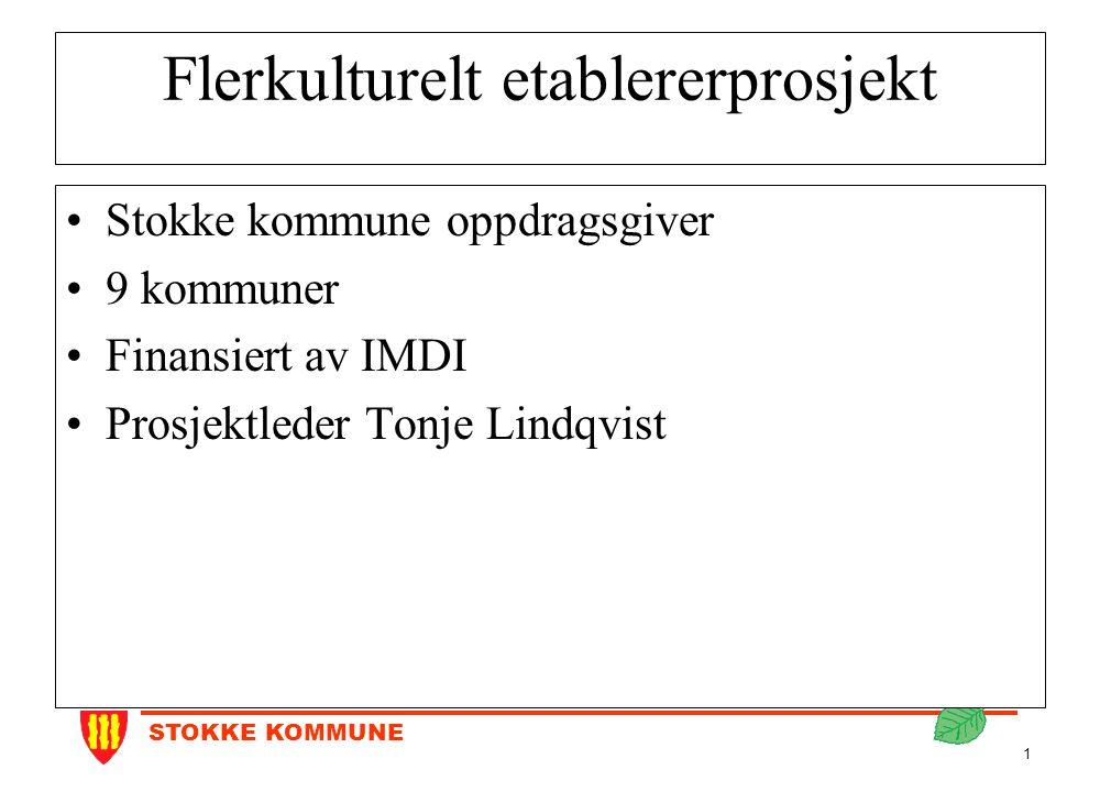 STOKKE KOMMUNE 1 Flerkulturelt etablererprosjekt Stokke kommune oppdragsgiver 9 kommuner Finansiert av IMDI Prosjektleder Tonje Lindqvist