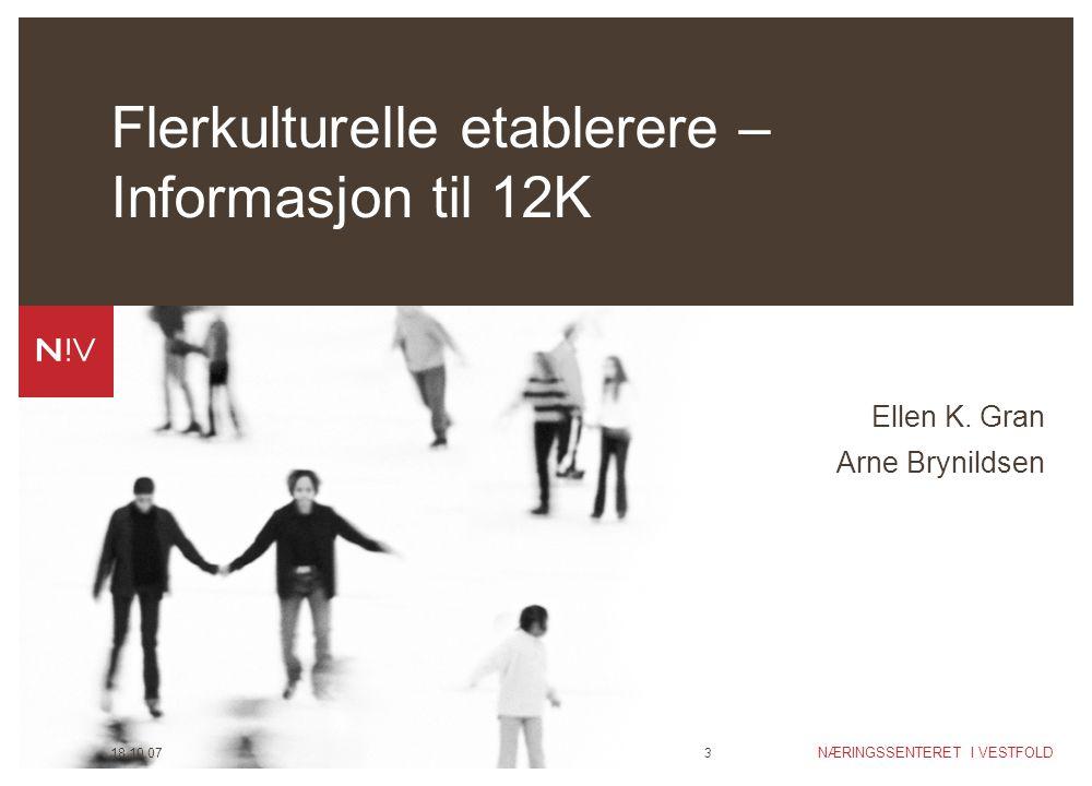 NÆRINGSSENTERET I VESTFOLD 18.10.073 Flerkulturelle etablerere – Informasjon til 12K Ellen K. Gran Arne Brynildsen